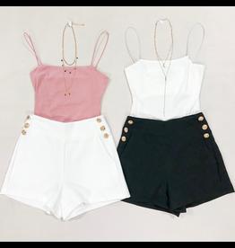 Shorts 58 Gold Button Black Shorts
