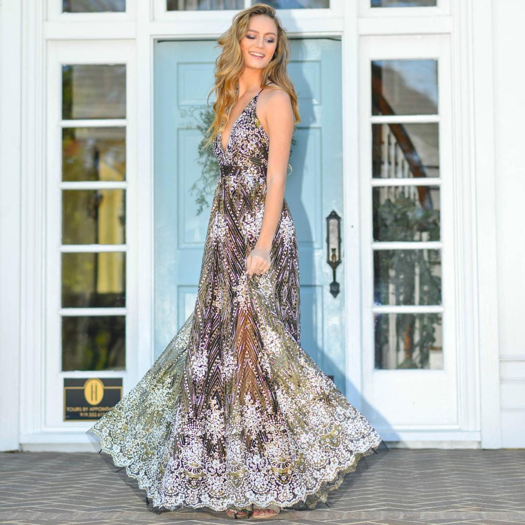 1e28c5c641ff Glitter Floral Black Long Formal Dress - Cousin Couture