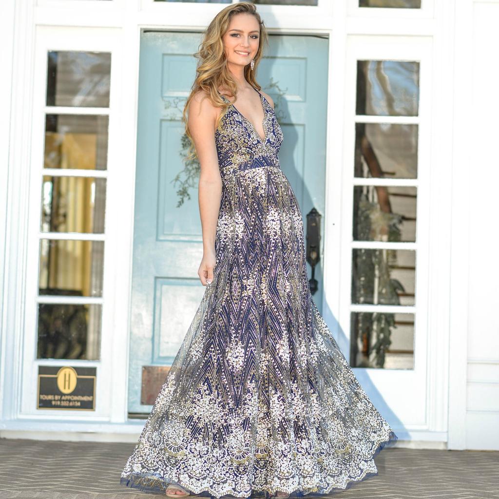 Formalwear Glitter Floral Navy Long Formal Dress