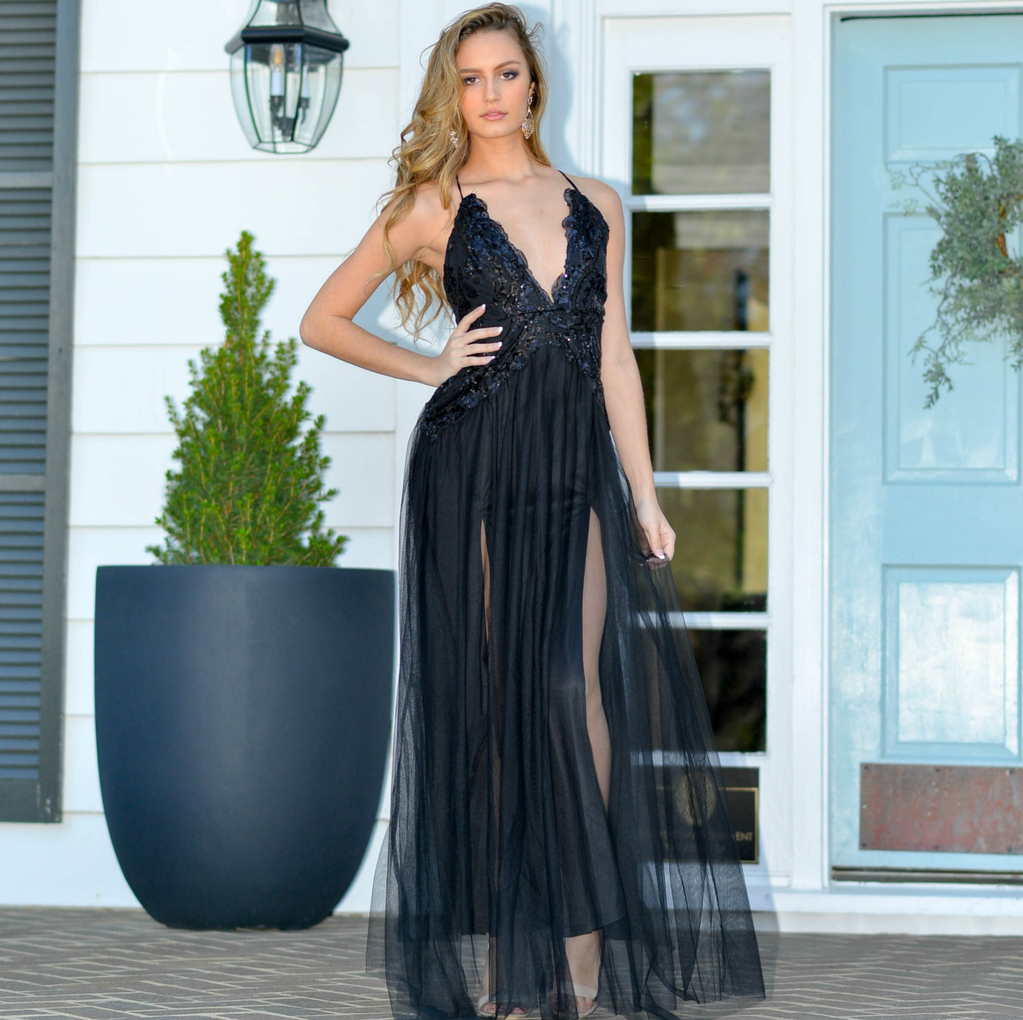 Formalwear Night To Remember Black Sequin And Tulle Formal Dress