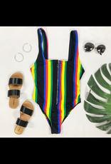 Swimsuits Colorful Island Stripe One Piece Swim