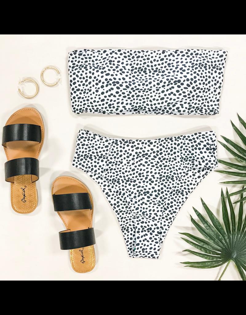 Swimsuits Spotted Black & White Hi Waist Bikini Bottom