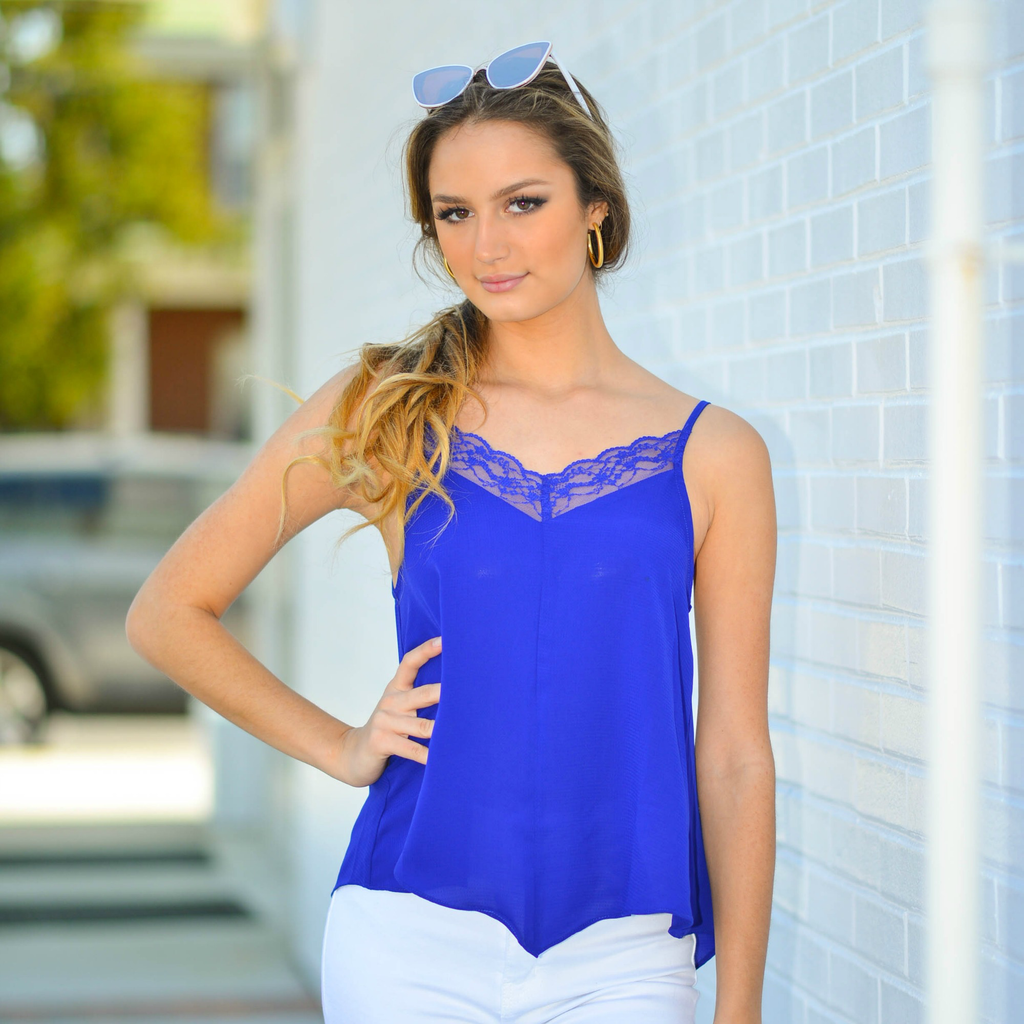 Tops 66 Electric Blue Lace Cami