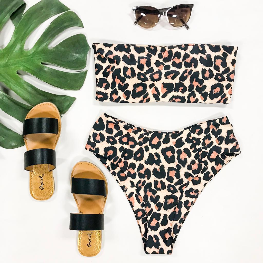 Swimsuits Brown Leopard Bikini Top