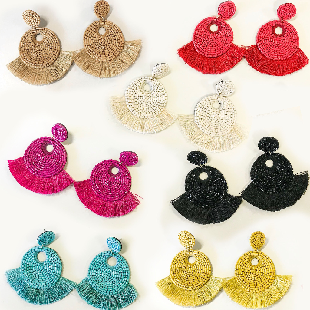 Jewelry 34 Tassel Trim Seed Bead Disk Earrings