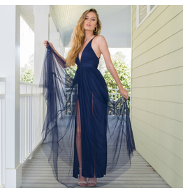 Formalwear Swept Away Navy Tulle Dress