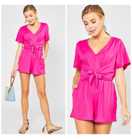 Rompers 48 Celebrate Hot Pink Tie Front Romper