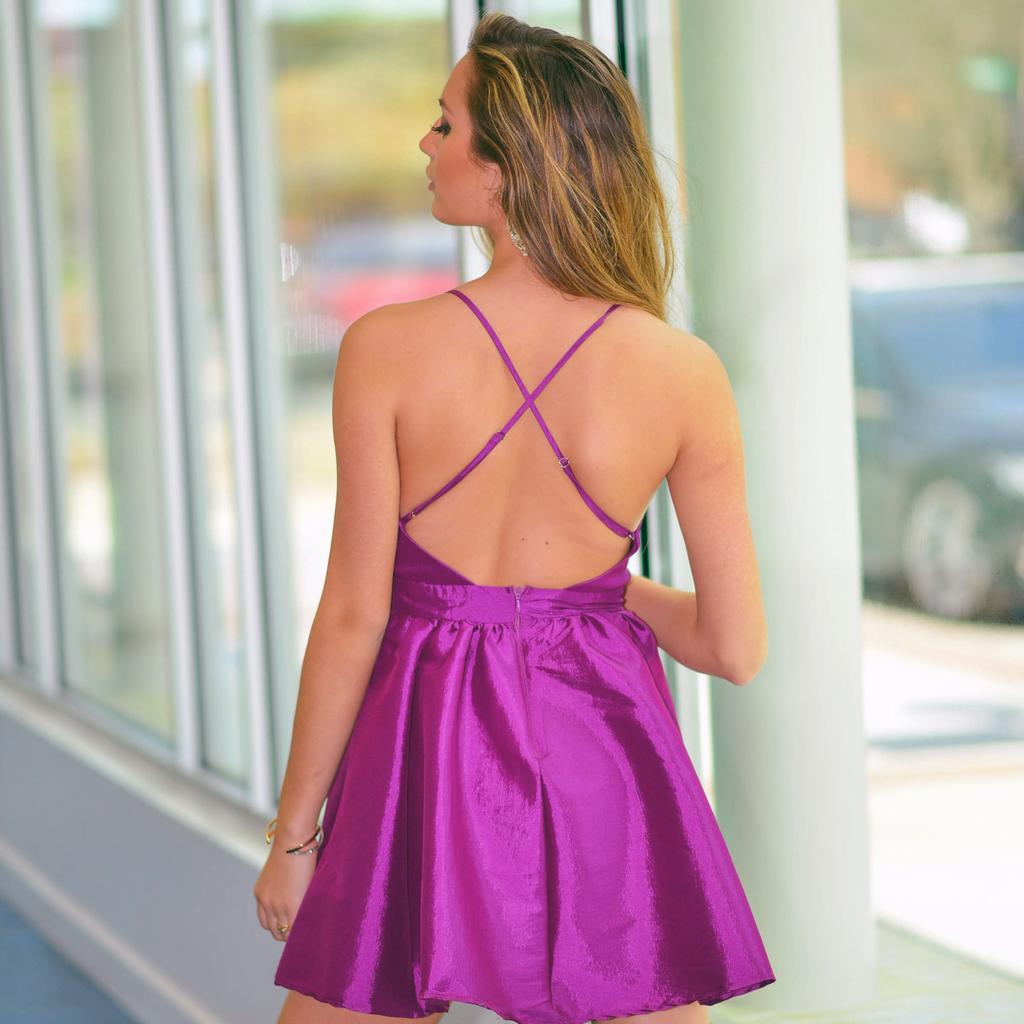 Dresses 22 Set On You Satin Magenta Dress