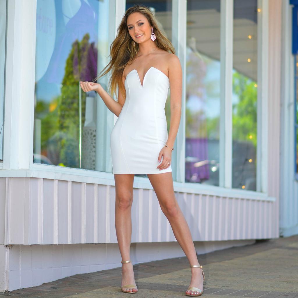 Dresses 22 White Celebration Deep V Dress
