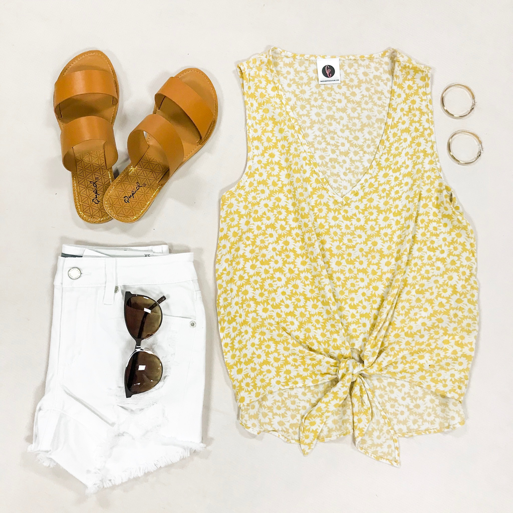 Tops 66 Hello Sunshine Yellow Floral Tie Front Top