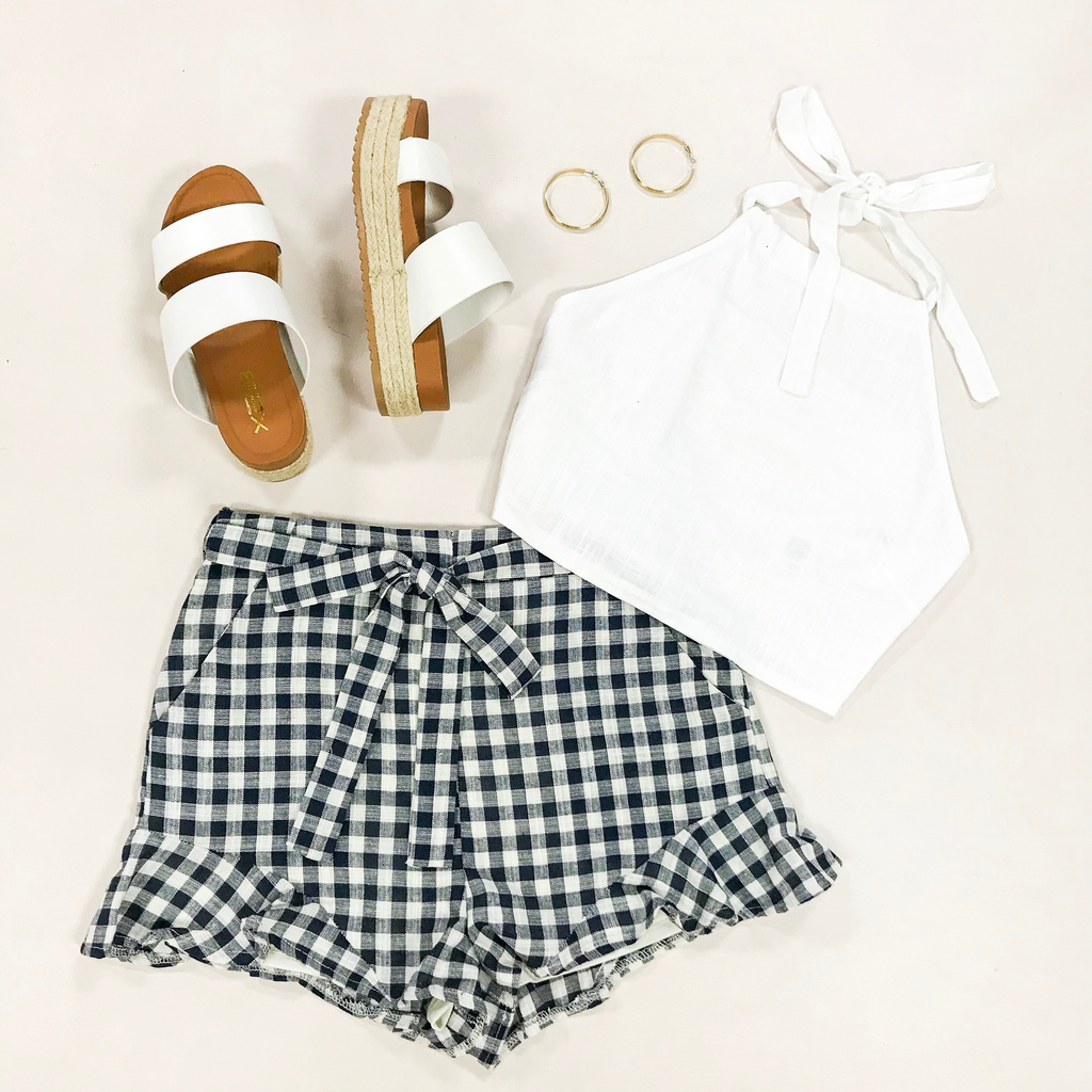 Shorts 58 Gingham Girl Navy Ruffle Shorts