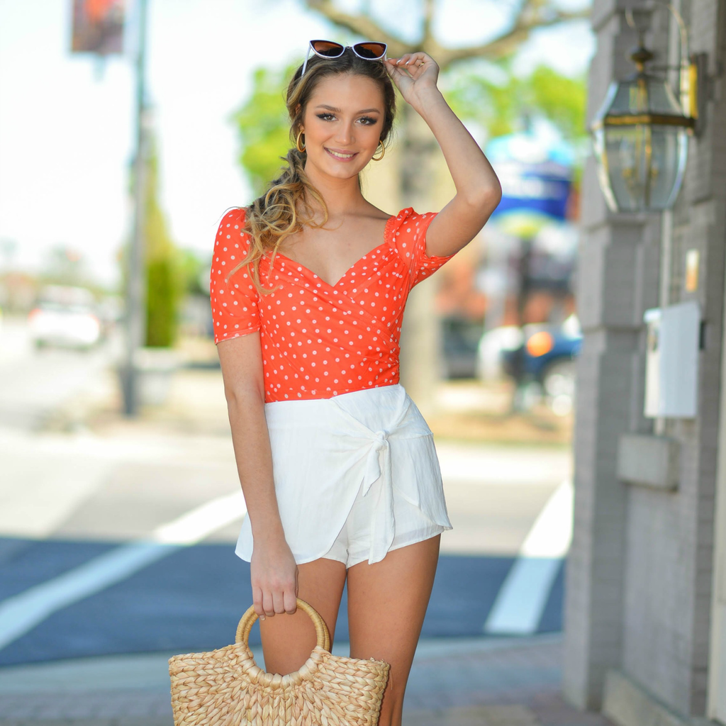 Tops 66 Orange You Cute Floral Bodysuit
