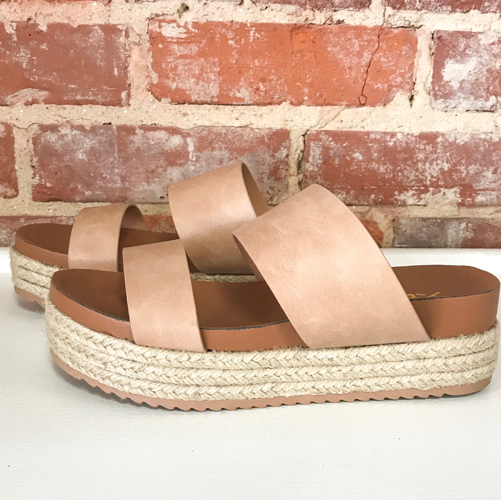 Shoes 54 Slide In Nude Strappy Espadrilles
