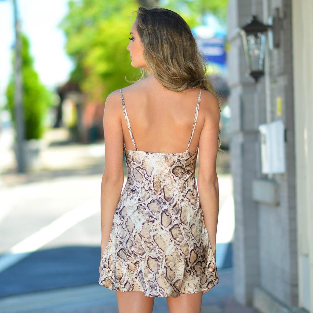 Dresses 22 Satin Snake Print Open Back Dress