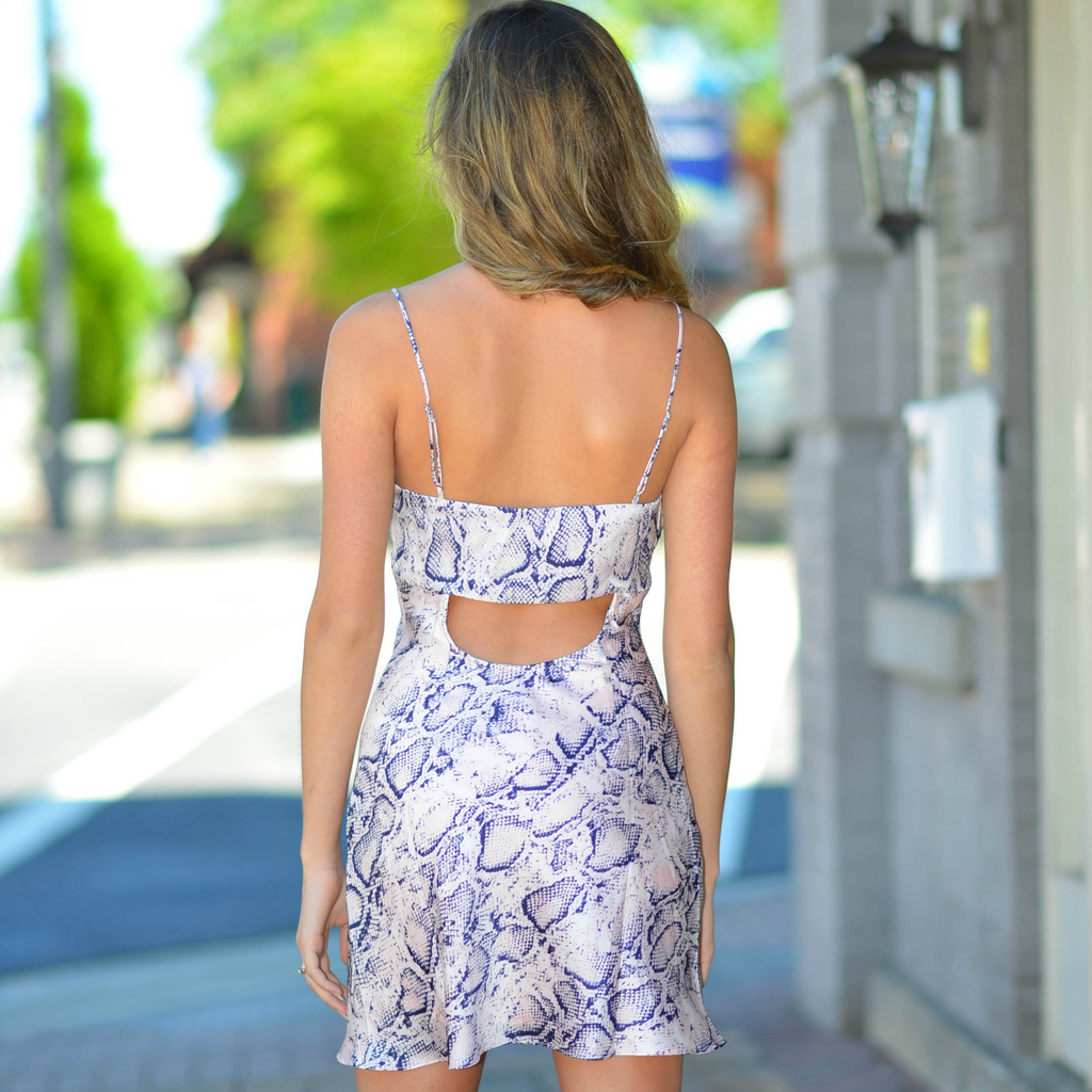 Dresses 22 Satin Open Back Pink Snake Print Dress