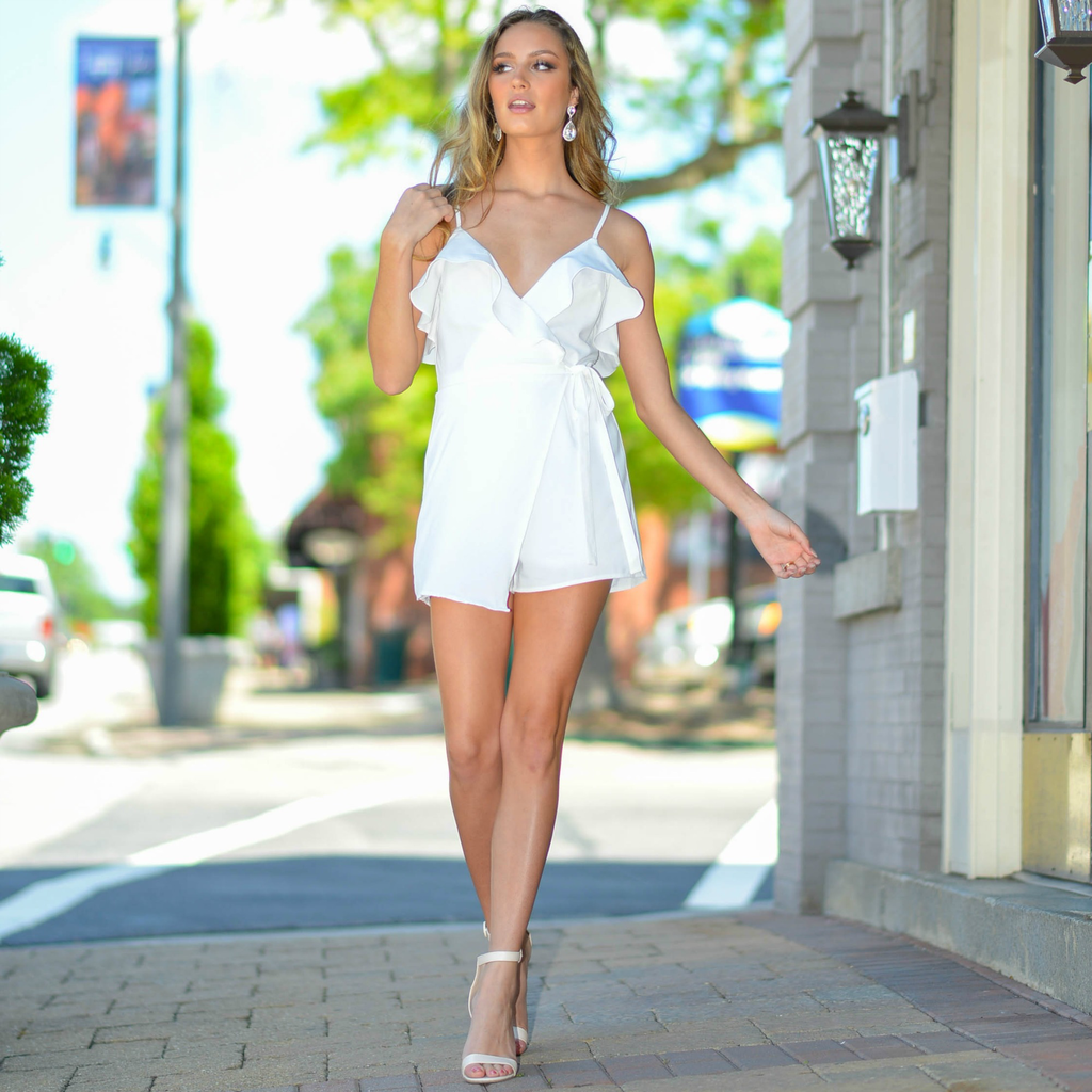Rompers 48 Wrap Up White Ruffle Romper