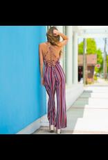 Jumpsuit Colorful Occasion Stripe Open Back Jumpsuit