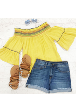 Tops 66 Hello Yellow Smocked Top