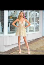 Formalwear Glitter Floral Ivory/Gold Formal Dress