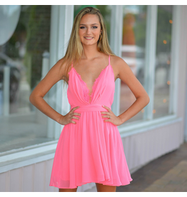 Dresses 22 Eye Lash Lace Hot Pink Dress
