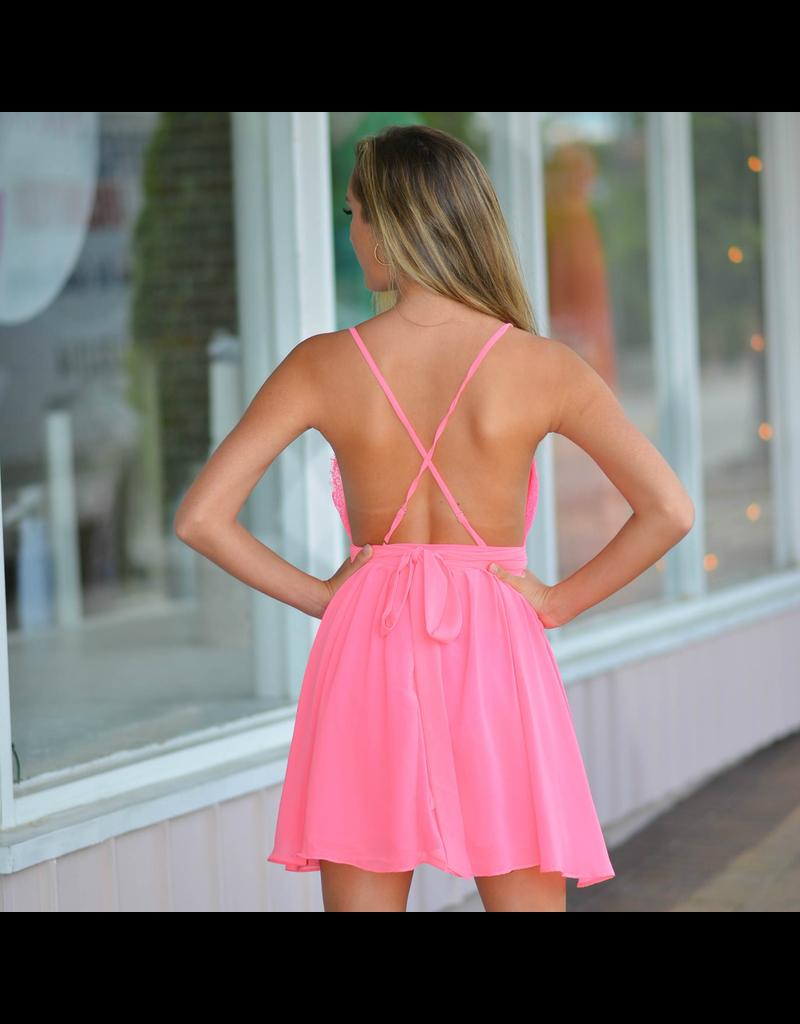 Dresses 22 Eye Lash Lace Hot Pink Dress