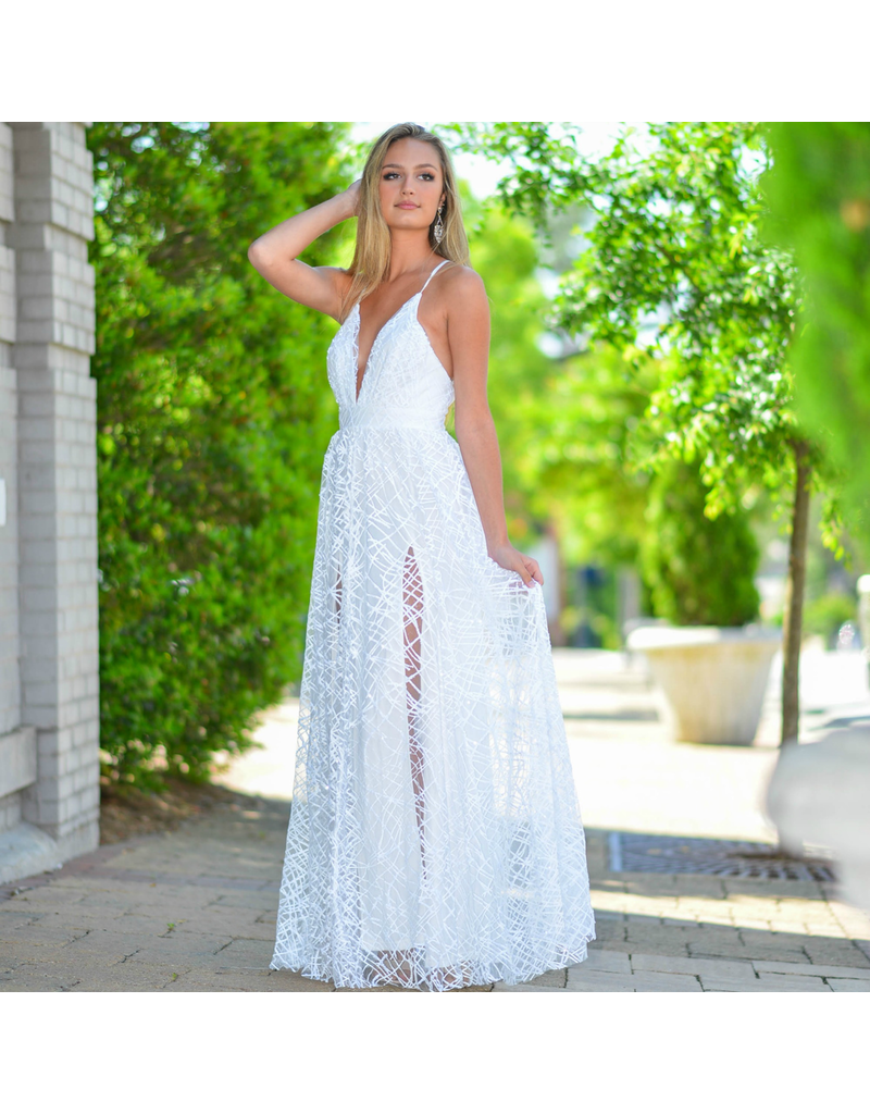 Formalwear Stunning In Sequins White Formal Dress