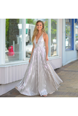 Formalwear Moment In Silver Metallic Pleated Formal