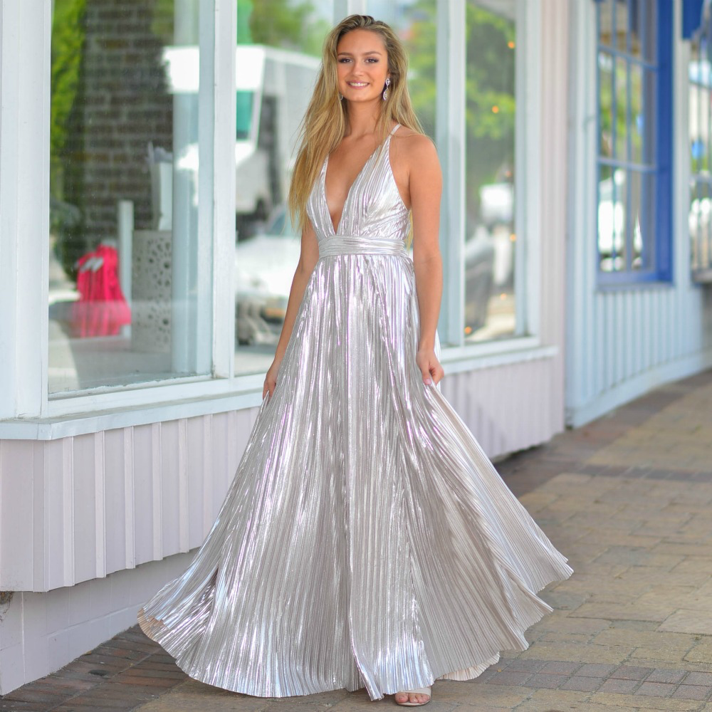 Dresses 22 Moment In Silver Metallic Pleated Formal