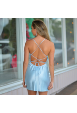 Dresses 22 Satin Open Back Blue Dress