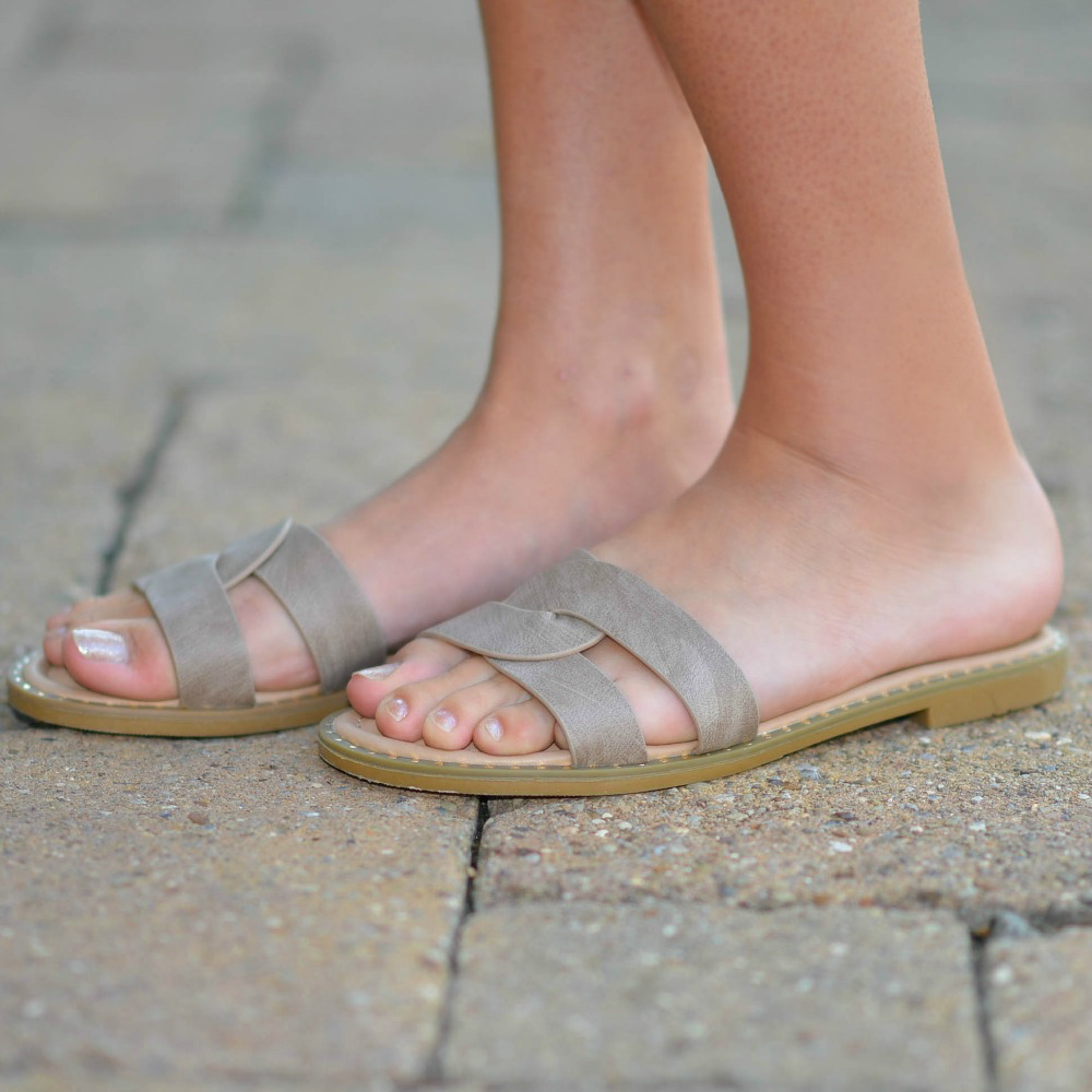 Shoes 54 Slide Into Summer Taupe Sandals