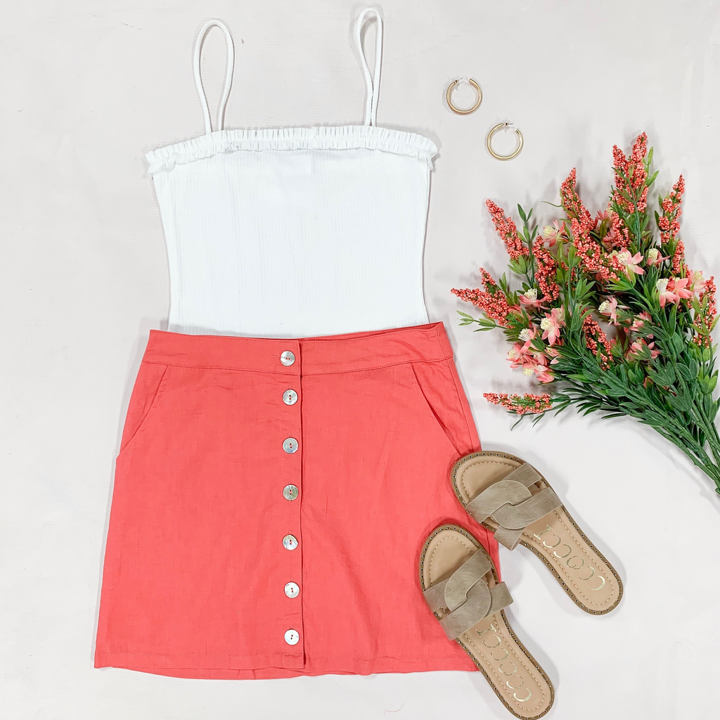 Skirts 62 In Living Coral Shell Button Front Summer Skirt