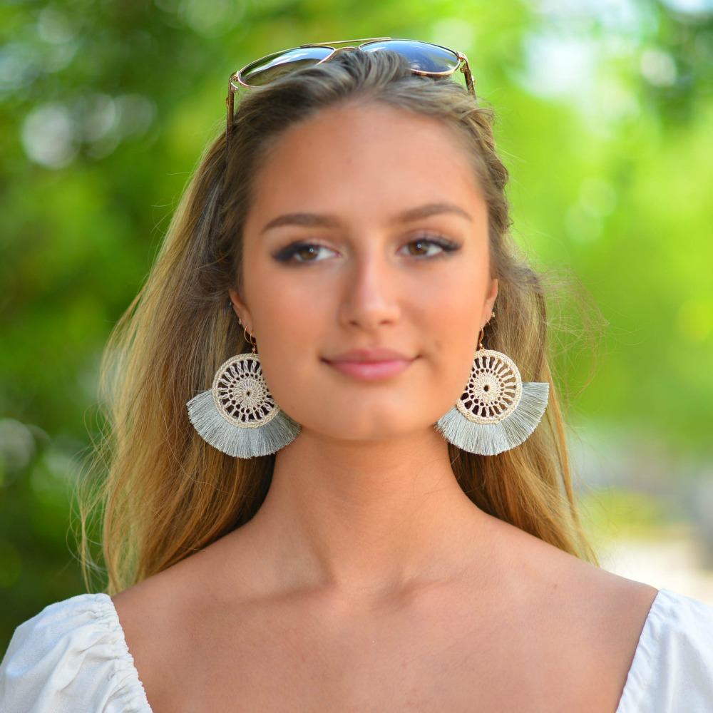 Jewelry 34 Woven Disc Tassel Earrings
