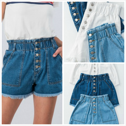 Shorts 58 High Waisted Paperbag Button Front Summer Denim Shorts