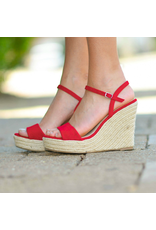 Shoes 54 Summer In The Sun Red Espadrille Wedge