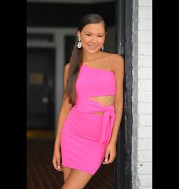 Dresses 22 Best Impression One Shoulder Hot Pink Dress