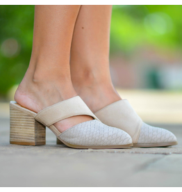 Shoes 54 Take A Turn Snake Texture Heeled Taupe Slide