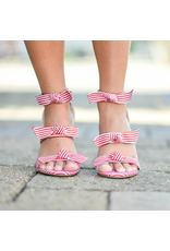 Shoes 54 Step Into Summer Red Stripe Wedge