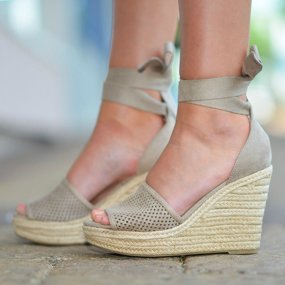 Shoes 54 Wrap Up Into Summer Light Taupe Wedge