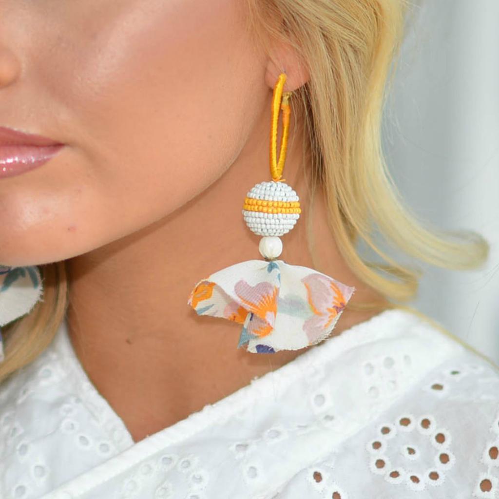 Jewelry 34 Bead Ball & Tassel Hoops