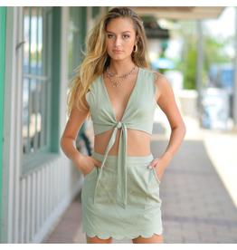 Tops 66 Scallop Summer Sage Wrap Top
