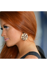 Jewelry 34 Raffia Leopard & Acrylic Disc Earrings