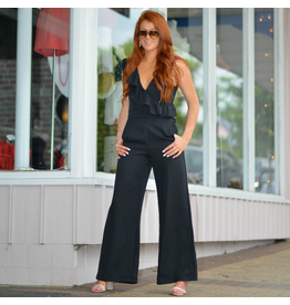 Jumpsuit Ruffle Reasons Black Jumpsuit