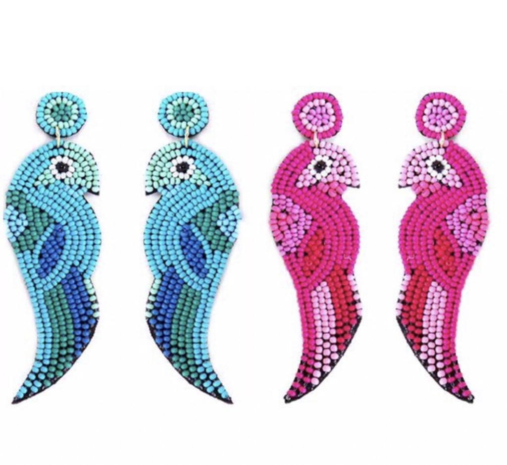 Jewelry 34 Beaded Tropical Bird Earrings