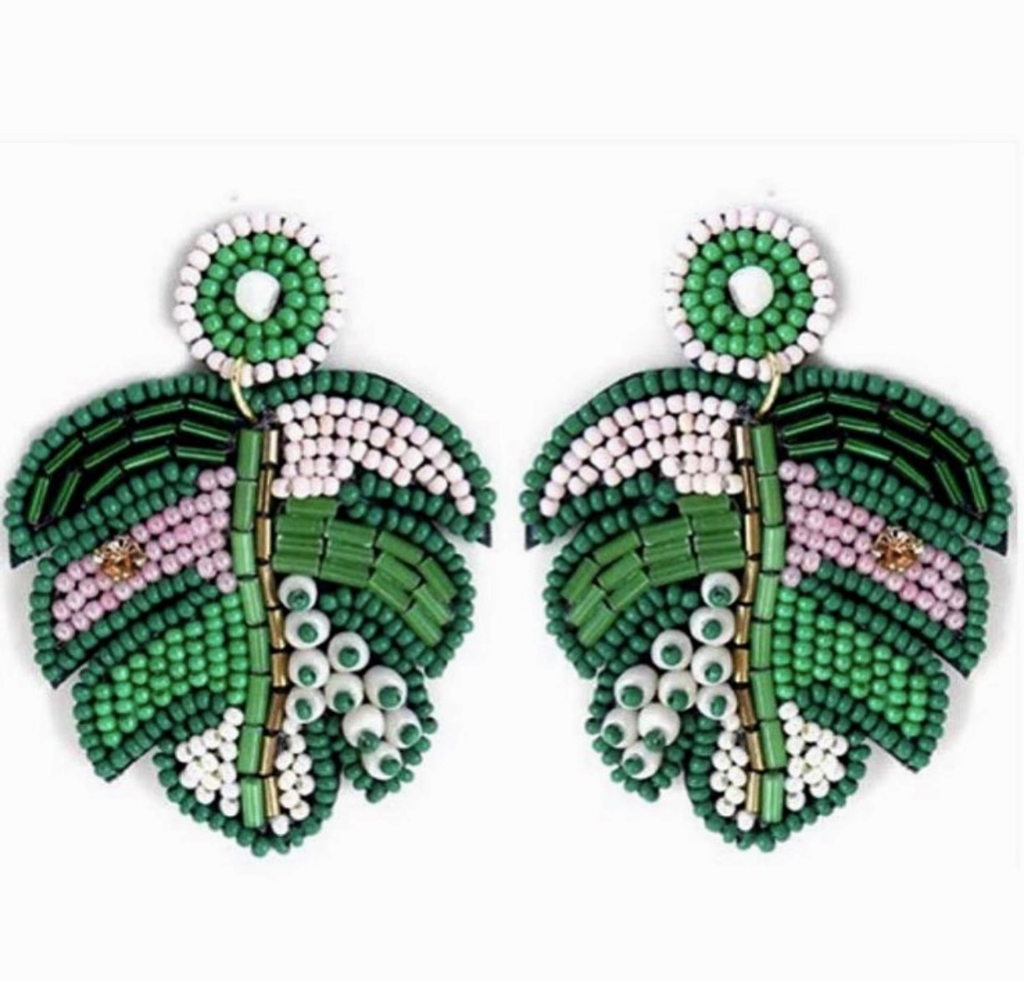 Jewelry 34 Beaded Tropical Leaf Earrings