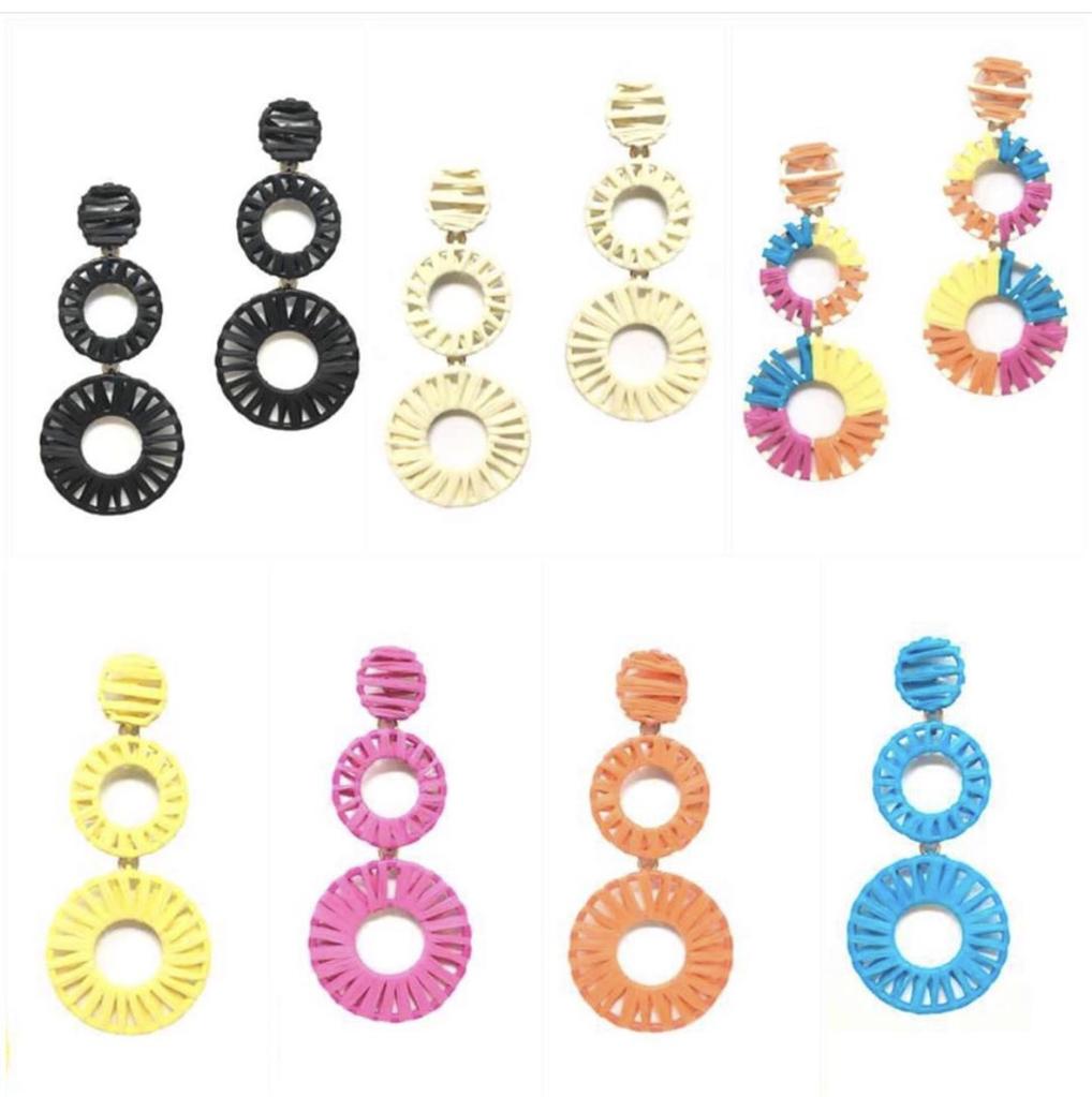 Jewelry 34 Raffia Circle Linear Earrings