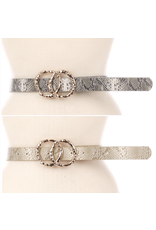 Accessories 10 Double Circle Buckle Snakeskin Belt