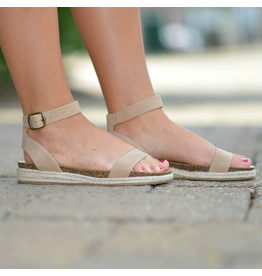 Shoes 54 Little Taupe Lower Heel Espadrille