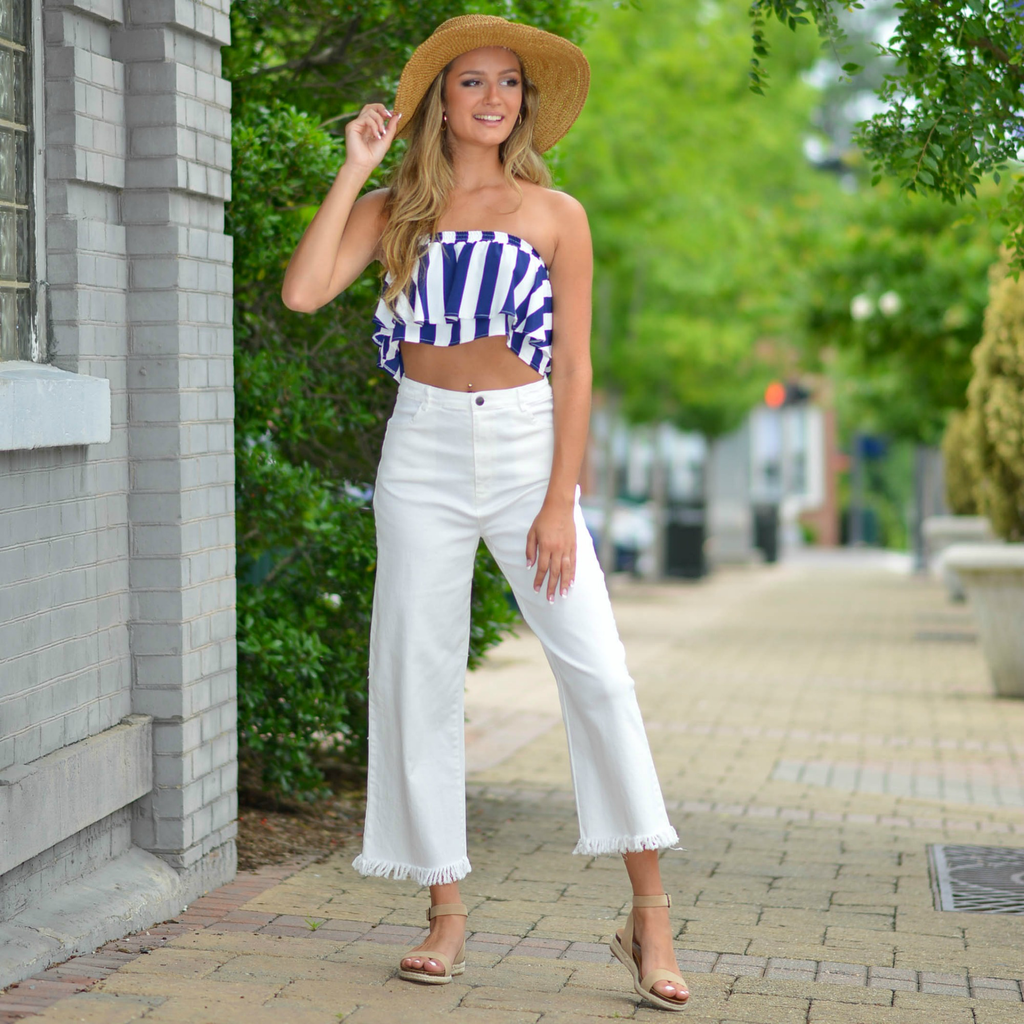 Pants 46 Counting The Days Cropped Fringe Bottom Flares