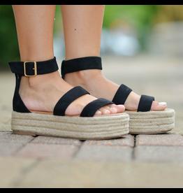 Shoes 54 On My Way Black Platform Espadrilles