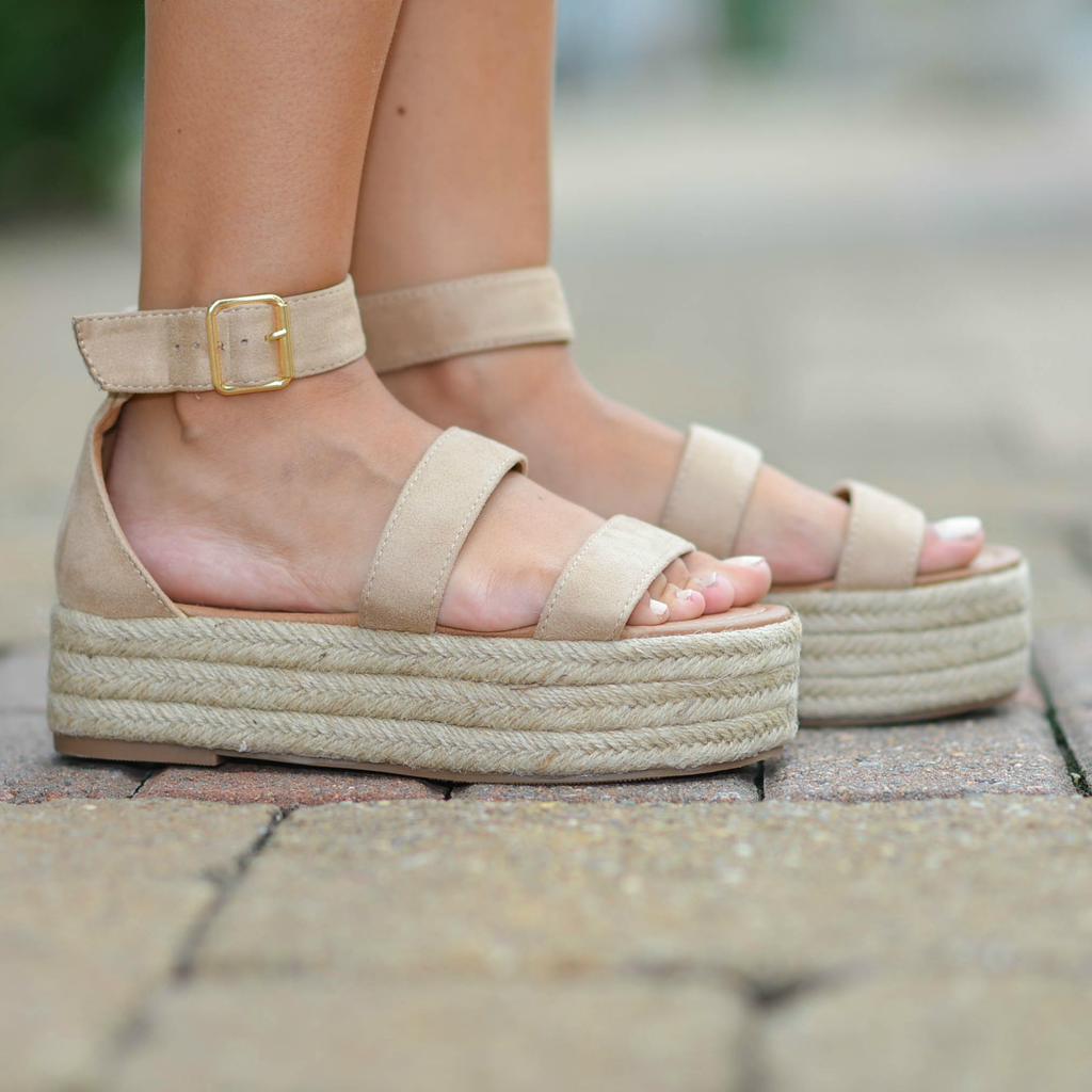 Shoes 54 On My Way Taupe Platform Espadrilles